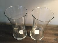 "Pair of Brand New 8"" Clear Glass Vases by Libbey Flare"