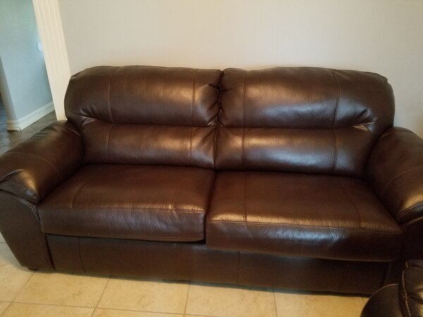 Brown leather-like SLEEPER SOFA, ALMOST NEW!!