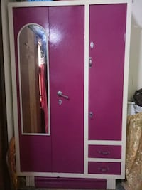 Pink and white aluminum wardrobe with mirror 12042 km