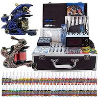 Solong Tattoo Complete Tattoo Kit 2 Pro Machine Guns 54 Inks Power Supply Needle Grips Tips with Carry Case TK221 Wasaga Beach