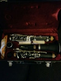 black and gray clarinet in case