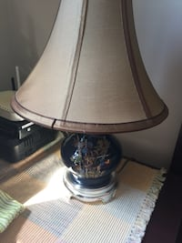 blue glass floral table lamp with brown lampshade Alexandria, 22303
