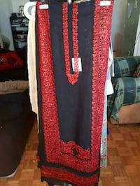 red and black long-sleeved dress
