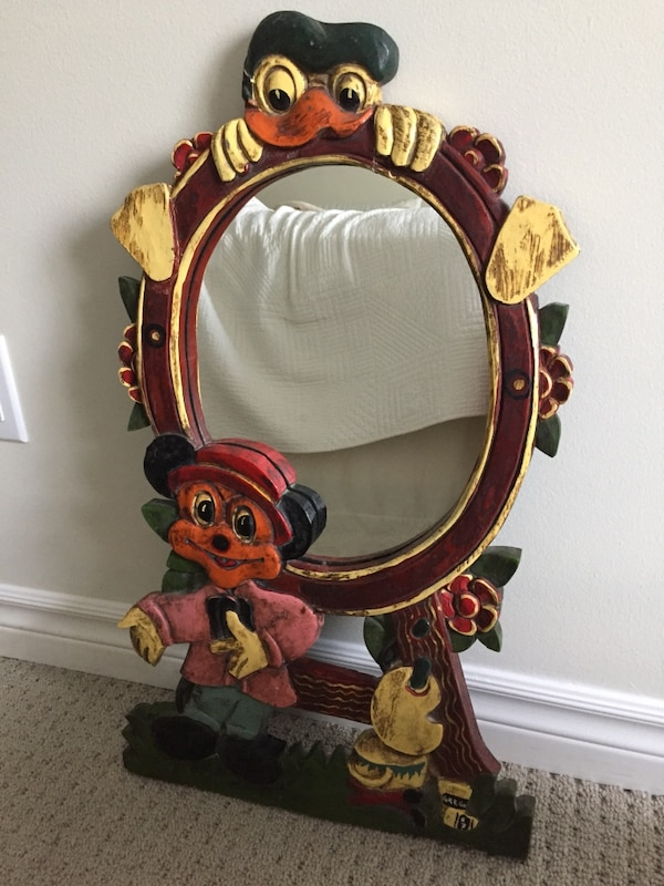 Vintage 1967 Mickey Mouse & Donald Duck Mirror