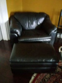 black leather sofa chair with ottoman Columbus, 31904