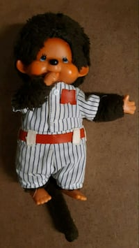 Rare Monchhichi with pinstriped baseball outfit Aurora, 80011