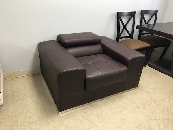 Brown Real Leather Sofa Chair