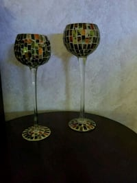 Two Decorated Candle Holders Or Vases