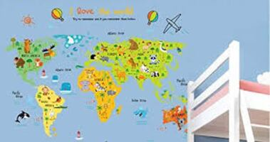 Brand New - I love the world Colorful Animal World Map Wall Decal
