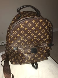 brown and red Louis Vuitton leather backpack Hamilton