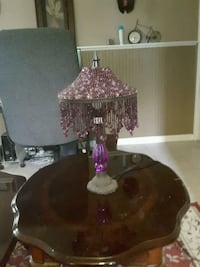 Beaded purple lamp