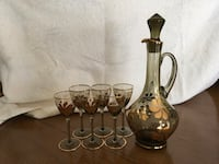 Vintage Smoked translucent decanter bottle and six steemed glasses Mississauga, L5N 2N4