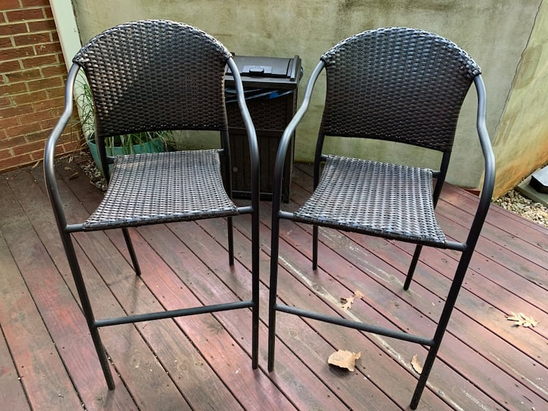 Two (2) bar stool height patio chairs with cover b96415db-d5ee-4f73-b5ca-b0ed2a165386