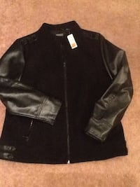 Brand new, Black leather zip up jacket