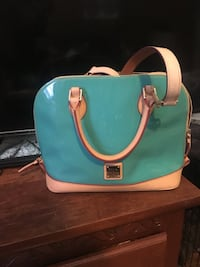 Teal and white patent tote bag