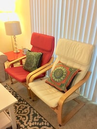 3 Red and white fabric sofa chair(40$ each ) Los Angeles, 90066