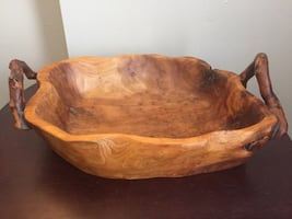 Hand Made Wooden Bowl. 17x11x4