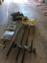 Four fishing rods with reels and miscellaneous Lincoln, L0R