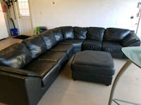 Black Real Leather sectional sofa with ottoman Windermere, 34786
