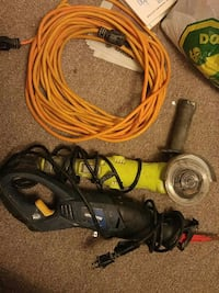 black corded reciprocating saw; yellow corded angle grinder Brampton, L6Y 3X4