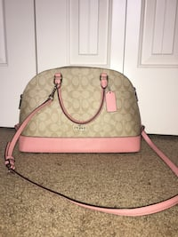 Pink and brown coach monogram shoulder bag Caldwell, 83605