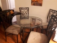 round glass top table with four chairs dining set Mississauga, L5N