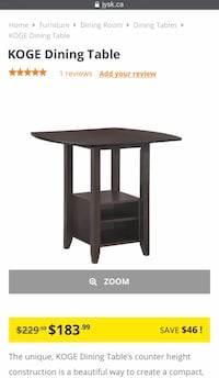 JYSK Counter Height Dining Table & Stools - Espresso Colour