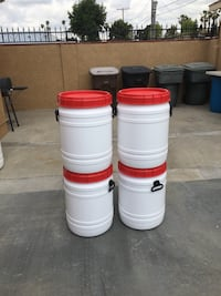 four white and red plastic containers Anaheim, 92805