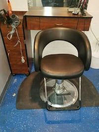 two stainless steel framed black leather padded chairs Suitland-Silver Hill, 20746
