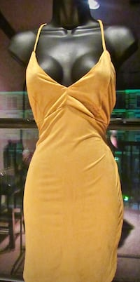 Mustard suede fitted dress
