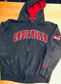 Men's Colosseum Heather Gray Louisville Cardinals Arch & Logo Tackle Twill Full-Zip Hoodie Size: MEDIUM Louisville, 40228