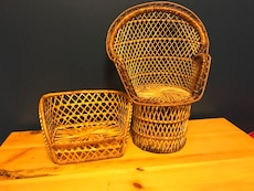 brown wicker peacock chair and futon miniatures