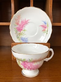 FREE with Purchase Pretty Pink and Purple Bone China Tea Cup & Saucer