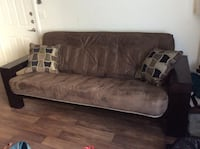 gray and brown suede 3-seat sofa