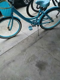 blue and black cruiser bike