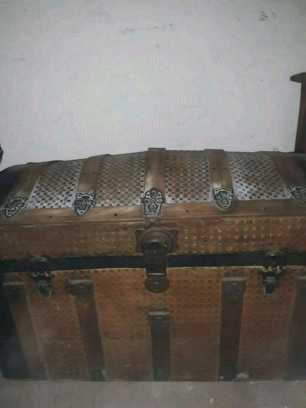 brown and black wooden chest
