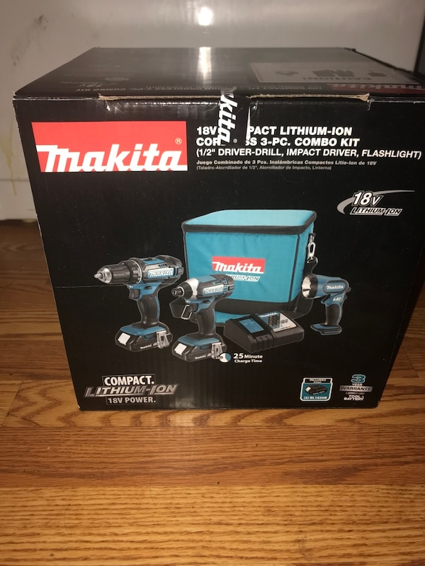 "Mikita 18V Compact Lithium-Ion Cordless 3-PC. Combo Kit (1/2"" Driver-Drill, Impacts Driver, Flashlight )"