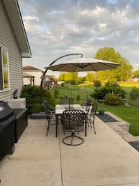 Large Cantilever patio umbrella and base