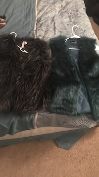 Two green  and black fur vest