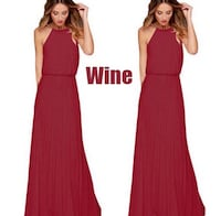 Women's red halter maxi dress small