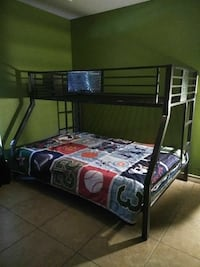 Grey metal bunk bed  frame twin over full