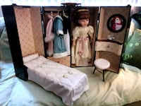 Rare Vintage Cracker Barrel Porcelain Doll in Wood Wardrobe Case Lake Forest, 92630
