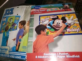 Brandnew party game (PIN THE NOSE MICKY MOUSE & PIN THE EYE MONSTER