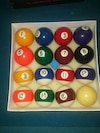 Old type pool balls with chalk