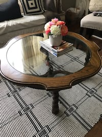 Wooded glass coffee table