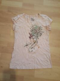 beige and green floral cap-sleeve shirt Manistee, 49660