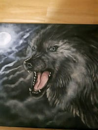 black and white wolf painting Calgary, T2K 1A2