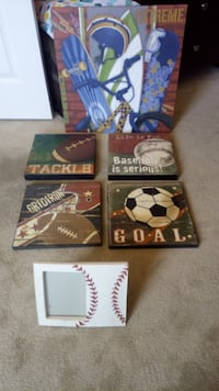 "5 sport theme wall decor+picture frame. About 12""  Allen"