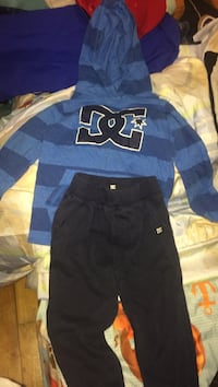 Blue and black dc pullover hoodie with pants