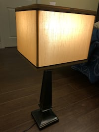 brown wooden table lamp base with brown lampshade Mississauga, L5N 1L5